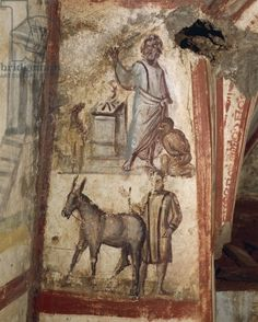 4th century fresco in Via Latini catacombs