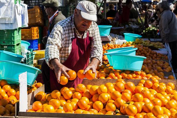 Selling oranges in La Vila Joiosa, Spain.